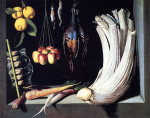 Juan Sanchez Cotán - Still life with dead birds fruit and vegetables