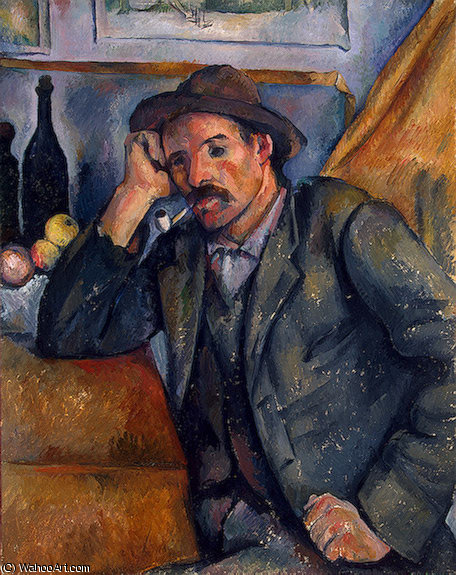 The smoker, eremitaget, 1892 by Paul Cezanne (1839-1906, France)