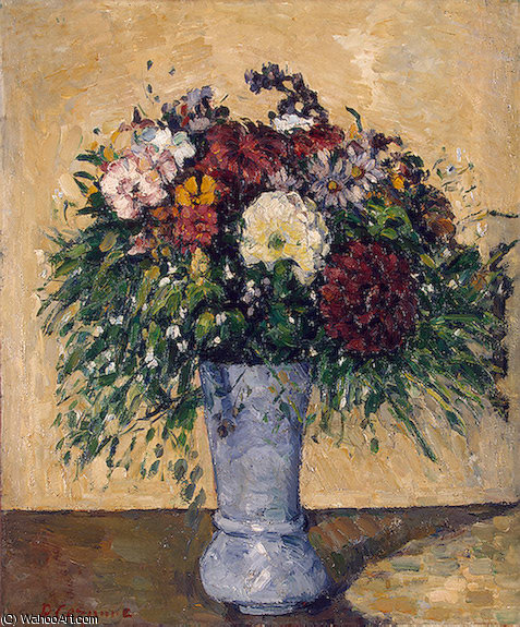 Flowers in a Blue Vase, Between 55.2x46 c, 1875 by Paul Cezanne (1839-1906, France)
