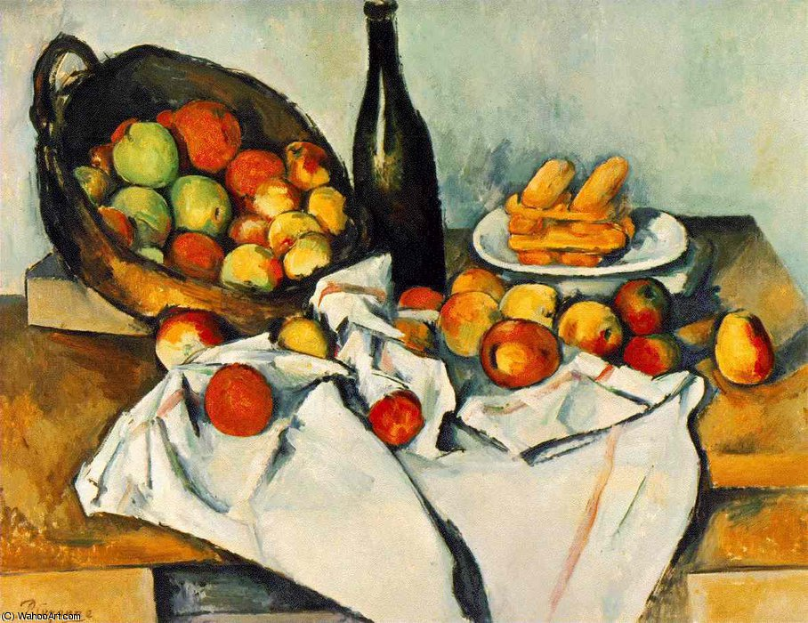 Still life with basket of apples,1890-94, the art in by Paul Cezanne (1839-1906, France)
