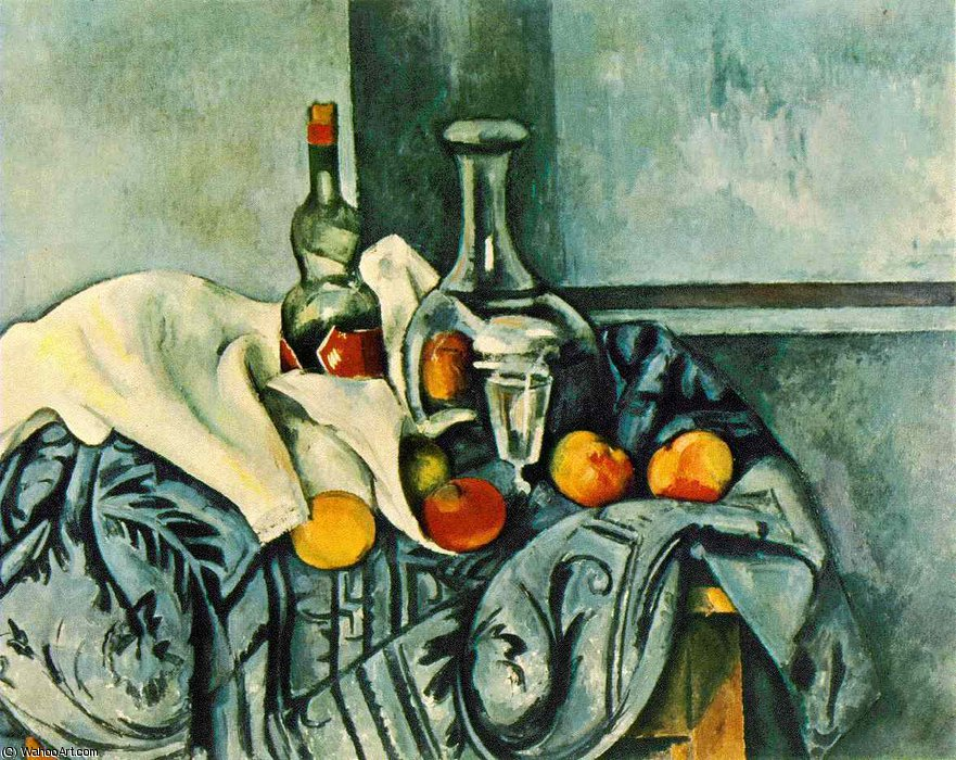 Still life with peppermint bottle,1890-94, ng washin by Paul Cezanne (1839-1906, France) | Oil Painting | WahooArt.com