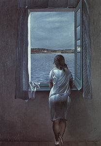 Salvador Dali - Dalí figure at a window (girl standing at the window),1925,