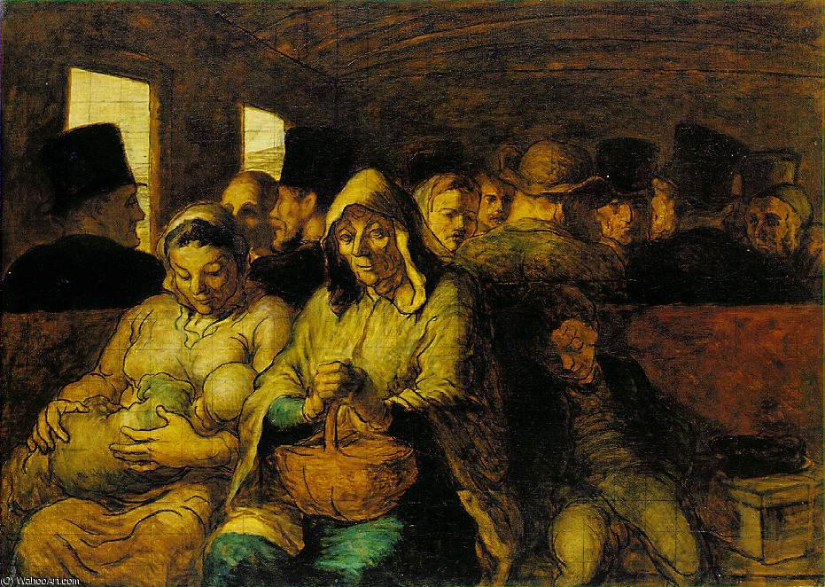 The third-class carriage, The, 1865 by Honoré Daumier (1808-1879, France)