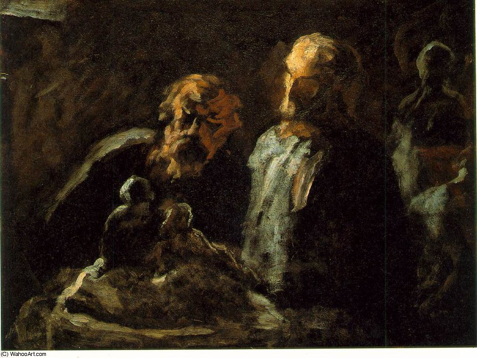 Two sculptors, Undated, Oil on wood, 11 x 14 in_ The by Honoré Daumier (1808-1879, France)
