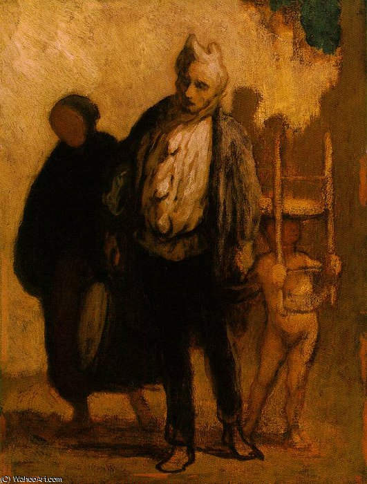 Wandering saltimbanques, c. Oil on wood, - (32), 1847 by Honoré Daumier (1808-1879, France)