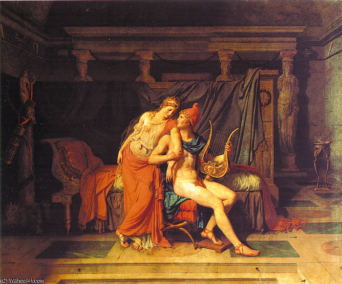 Paris and Helen, oil on canvas, Musée du L, 1788 by Jacques Louis David (1748-1800, France) | Painting Copy | WahooArt.com