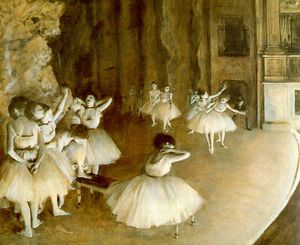 Edgar Degas - Ballet Rehearsal on Stage, oil on canvas, Musée