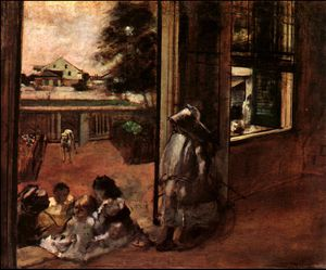 Edgar Degas - Children Sat Down in the House Door,