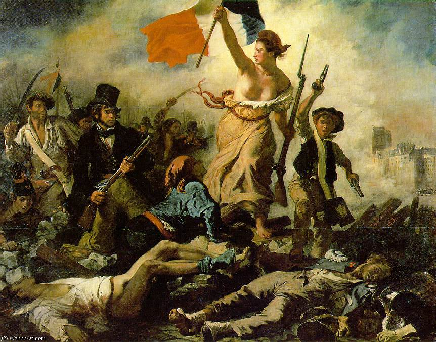Liberty Leading the People, Louv, 1830 by Eugène Delacroix (1798-1863, France) | Painting Copy | WahooArt.com