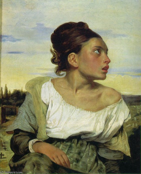 Orphan Girl at the Cemetery, Louvr, 1824 by Eugène Delacroix (1798-1863, France) | WahooArt.com
