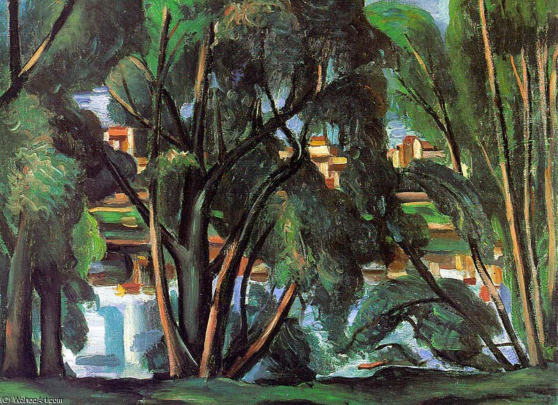 Trees on the Banks of the Seine, Staatsgalerie,, 1912 by André Derain (1880-1954, France)