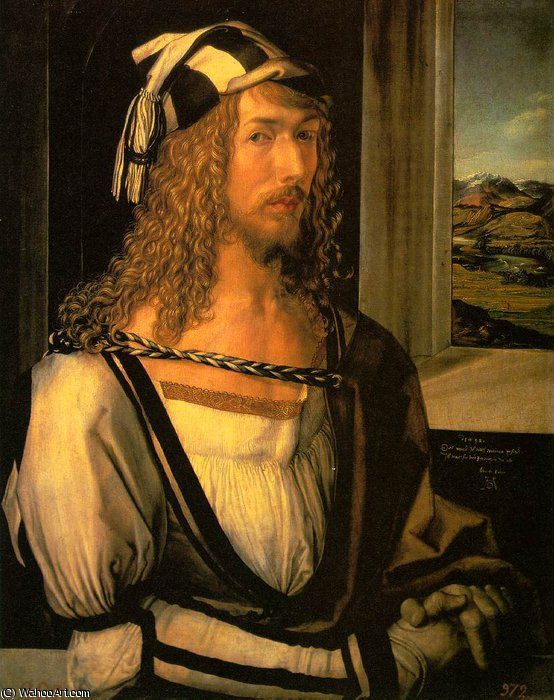 Self-portrait at 26,1498, prado by Albrecht Durer (1471-1528, Italy) | Museum Quality Reproductions | WahooArt.com