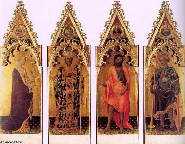 Four Saints of the Quaratesi Polyptych, by Gentile Da Fabriano (1370-1427, Italy)