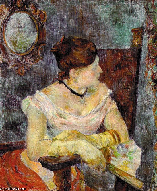 Madame Mette Gauguin in Evening Dress, oil on, 1884 by Paul Gauguin (1848-1903, France)