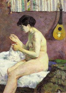 Paul Gauguin - Study of a Nude (Suzanne Sewing), Ny Glyptotek