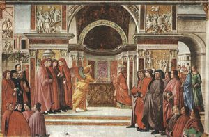 Domenico Ghirlandaio - Apparition of the angel to zacharias, cappella t