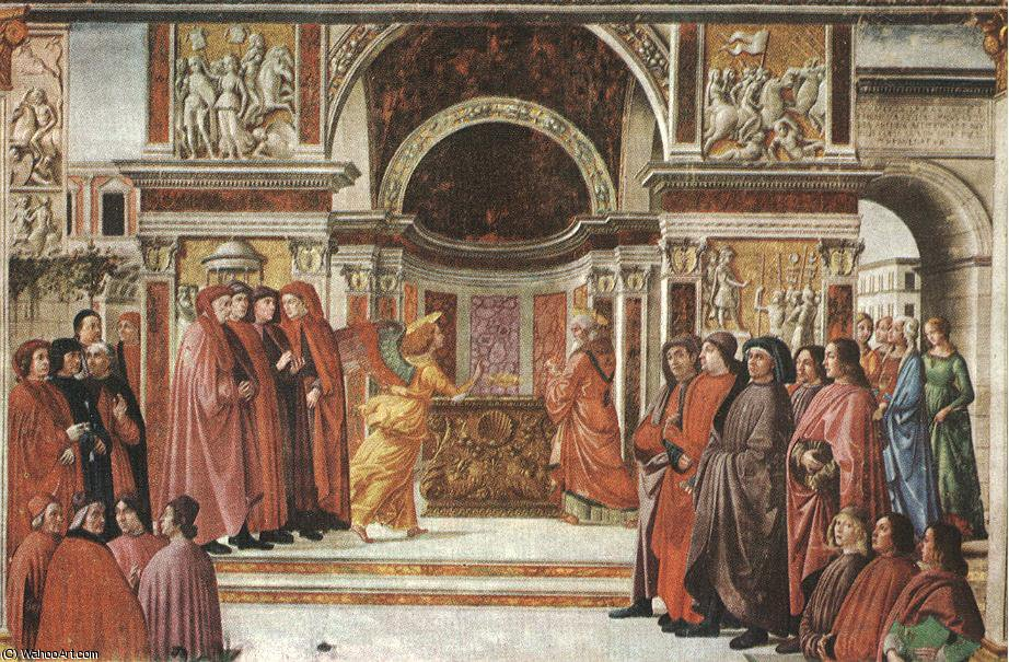 Apparition of the angel to zacharias, cappella t by Domenico Ghirlandaio (1449-1494, Italy) | Oil Painting | WahooArt.com