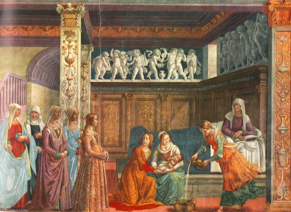 Birth of mary, cappella tornabuoni, s.maria nove by Domenico Ghirlandaio (1449-1494, Italy) | Museum Quality Reproductions | WahooArt.com