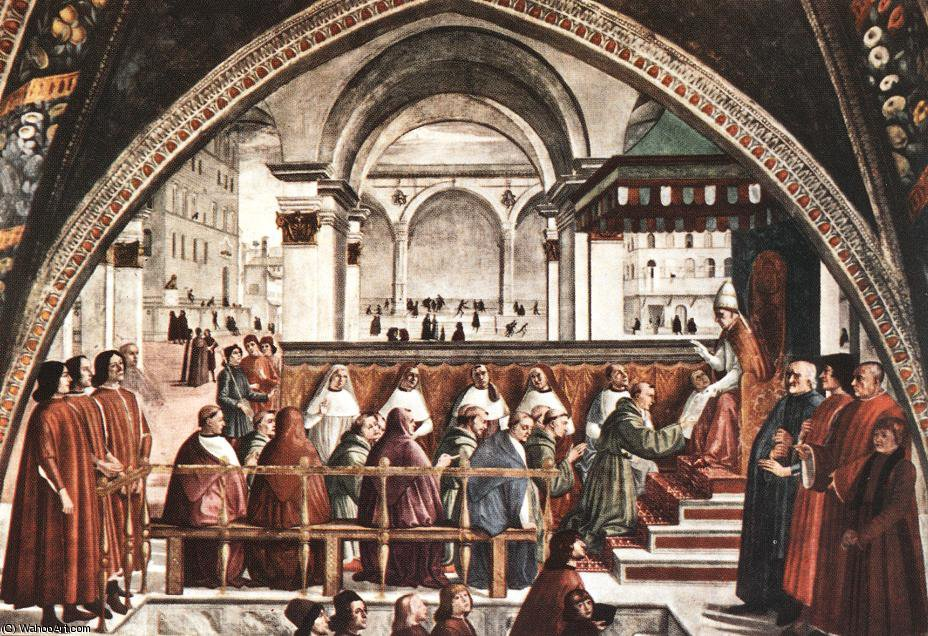 Confirmation of the rule, cappella sassetti, s.t by Domenico Ghirlandaio (1449-1494, Italy)