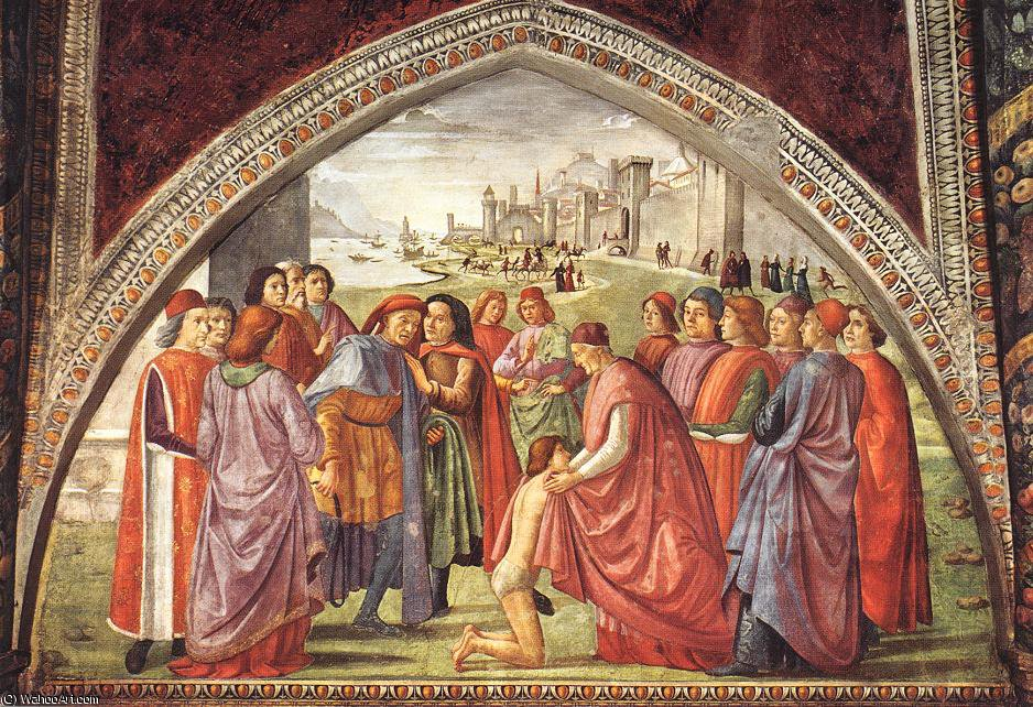 Renunciation of worldly goods, cappella sassetti by Domenico Ghirlandaio (1449-1494, Italy) | Oil Painting | WahooArt.com