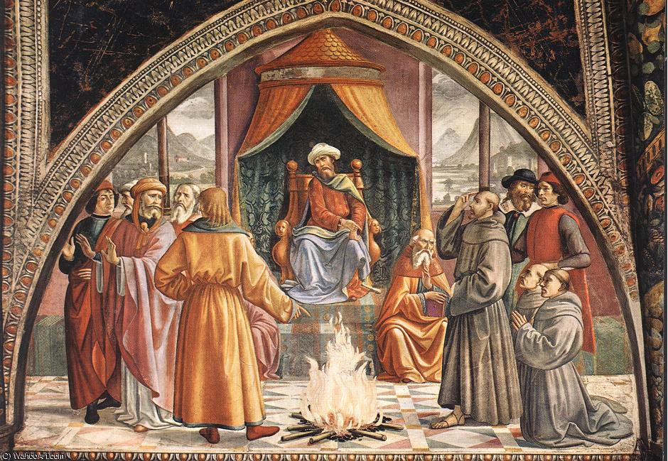 Trial by fire, cappella sassetti, s.trinita, fir by Domenico Ghirlandaio (1449-1494, Italy)