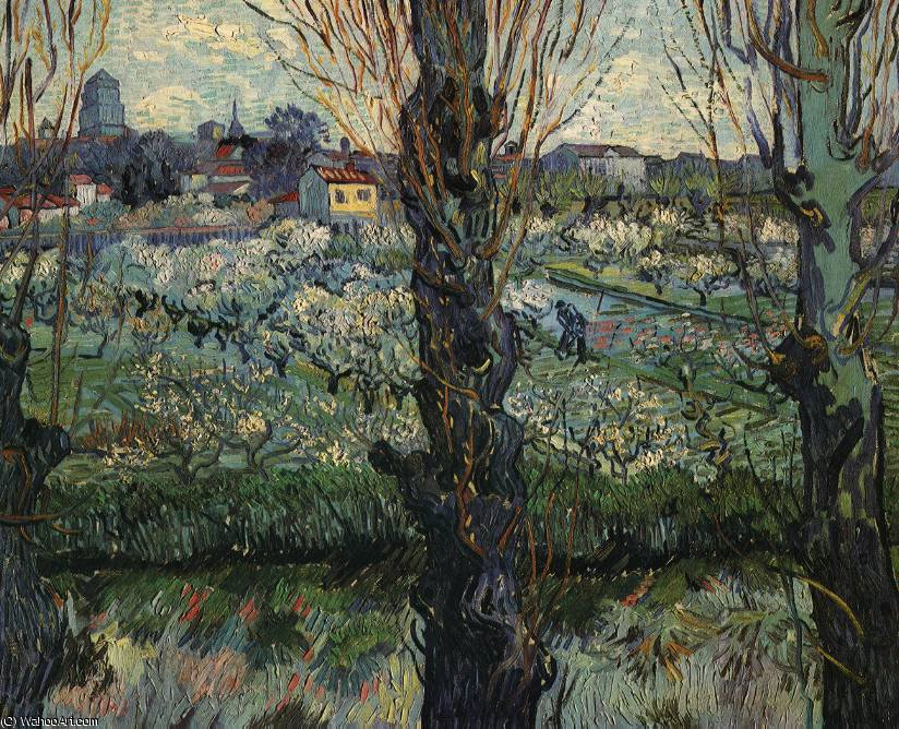 Orchard bloom poplars by Vincent Van Gogh (1853-1890, Netherlands)