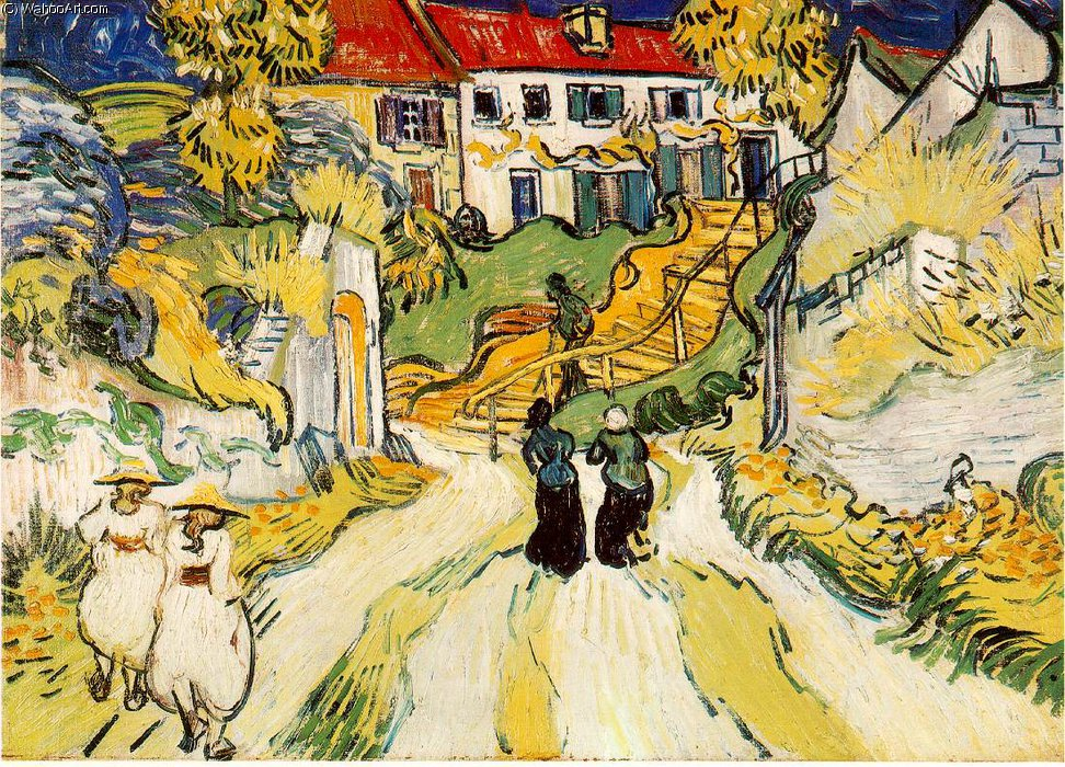 Village stairs by Vincent Van Gogh (1853-1890, Netherlands)