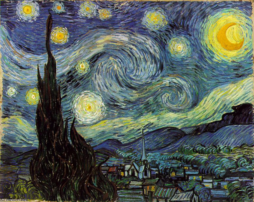 The Starry Night, Moma NY, 1889 by Vincent Van Gogh (1853-1890, Netherlands) | Oil Painting | WahooArt.com