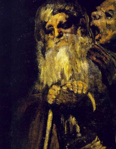 Francisco De Goya - Two old men, ca Detalj, Oil on plaster remount