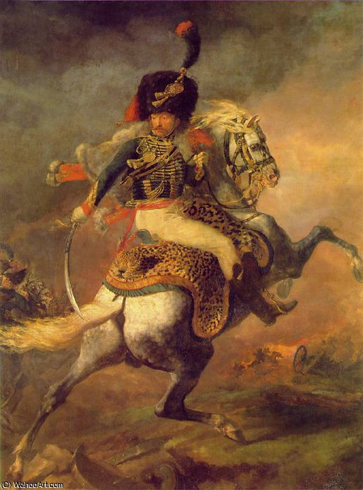 An Officer of the Imperial Horse Guards Charging, by Jean-Louis André Théodore Géricault (1791-1824, France) | Painting Copy | WahooArt.com