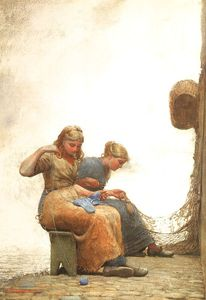 Winslow Homer - Mending the Nets, watercolor and gouache over gr
