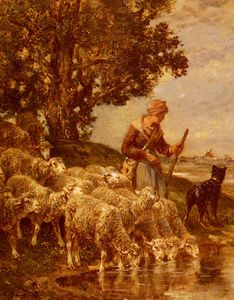 Charles Émile Jacque - A shepardess watering her flock