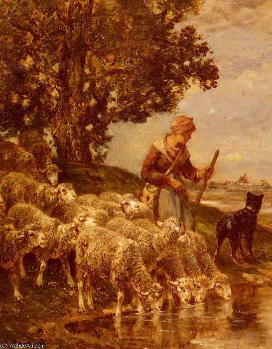 A shepardess watering her flock by Charles Émile Jacque (1813-1894, France)