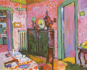 Wassily Kandinsky - Interior (My Dining Room), oil on cardboard,