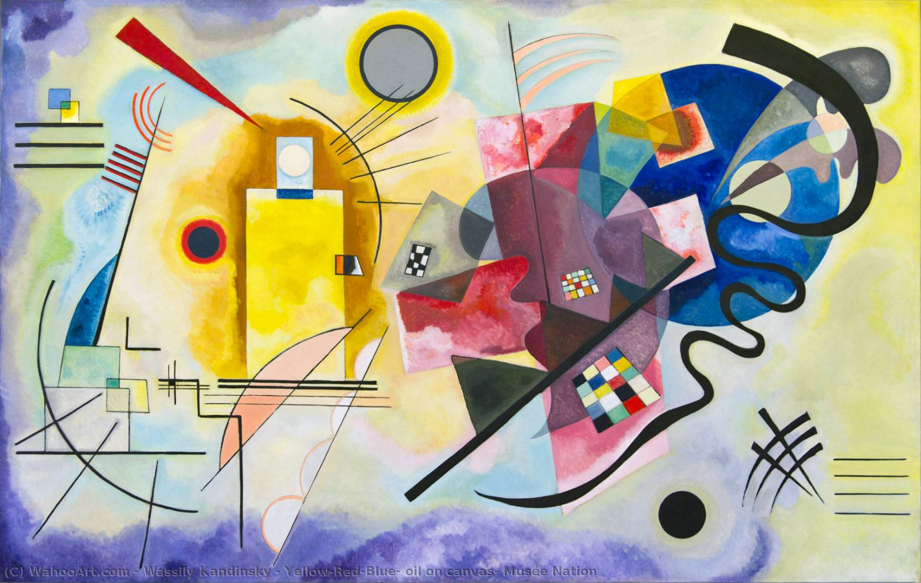 Yellow-Red-Blue, oil on canvas, Musée Nation, 1925 by Wassily Kandinsky (1866-1944, Russia) | Oil Painting | WahooArt.com