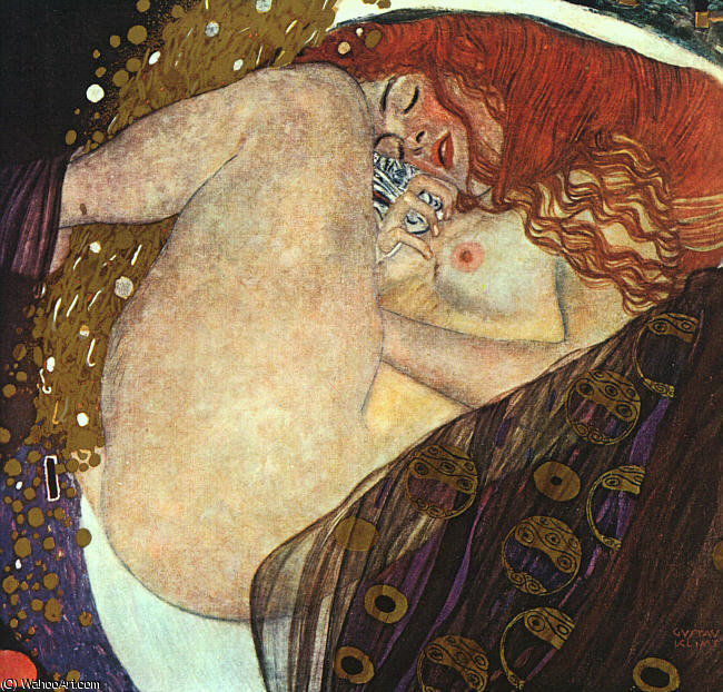 Danae, oil on canvas, private colle, 1908 by Gustav Klimt (1862-1918, Austria)