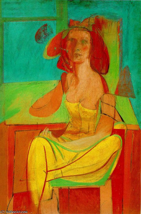 Seated woman,1940, private by Willem De Kooning (1904-1997, Netherlands)