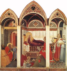 Pietro Lorenzetti - The birth of Mary, 1342, Museo dell-Opera