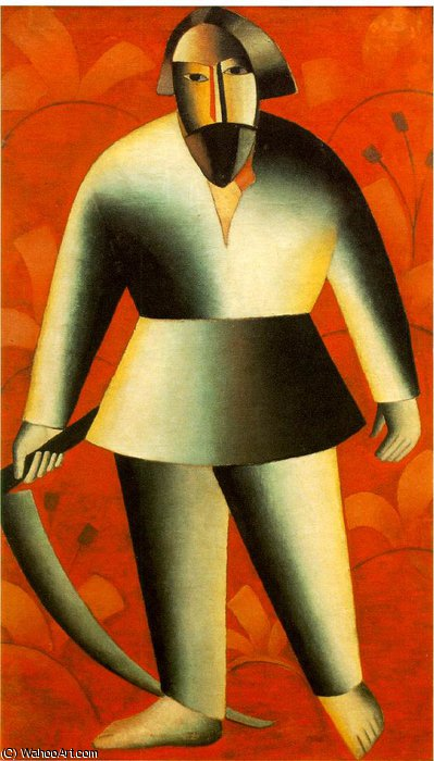 Reaper on red background Fine Arts Museum,, 1913 by Kazimir Severinovich Malevich (1878-1935, Ukraine)