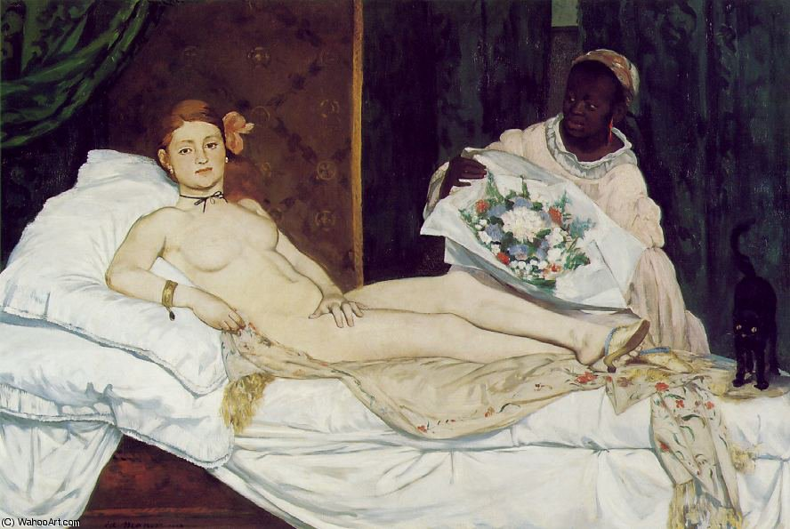 Olympia, Musee d`Orsay, Paris, 1863 by Edouard Manet (1832-1883, France) | Museum Quality Reproductions | WahooArt.com