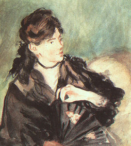 Edouard Manet - Portrait of Berthe Morisot, watercolor on paper,