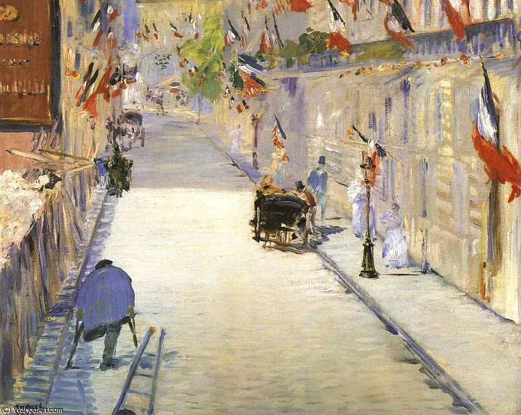 Rue Mosnier with Flags, J. Paul Getty Museum, Ma, 1878 by Edouard Manet (1832-1883, France) | Painting Copy | WahooArt.com