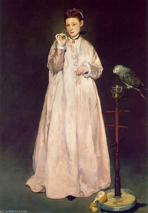Woman with parrot, Metropolitan, 1866 by Edouard Manet (1832-1883, France) | Famous Paintings Reproductions | WahooArt.com