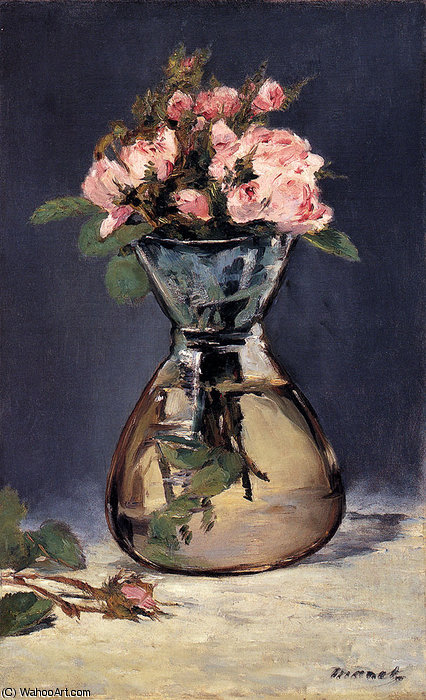Moss roses in a vase by Edouard Manet (1832-1883, France)