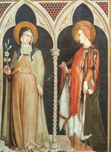 Simone Martini - St. Clare and St. Elizabeth of Hungary, approx. -