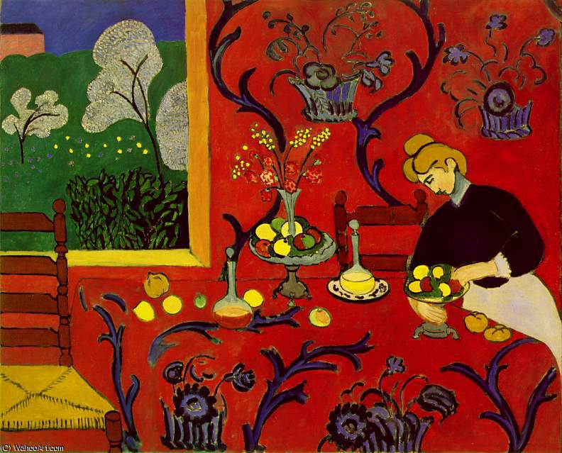 Harmony in Red (La desserte), spring 180x220 c, 1908 by Henri Matisse (1869-1954, France)