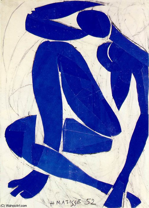 Nu bleu (iv), spring Gouache on paper, cut and, 1952 by Henri Matisse (1869-1954, France) | Oil Painting | WahooArt.com