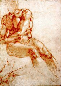 Michelangelo Buonarroti - Male Nude Study (red chalk)