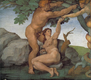 Michelangelo Buonarroti - Sistine Chapel Ceiling Genesis The Fall and Expulsion from Paradise The Original Sin