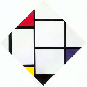 Piet Mondrian - 25 Lozenge Composition with Red, Gray, Blue, Yellow, and Black